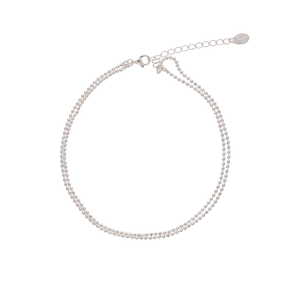 Double Up Sterling Silver Anklet - House of Pascal