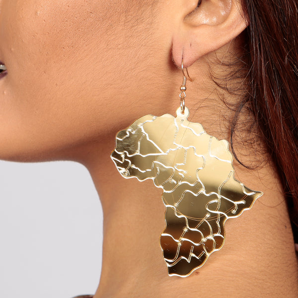 THE MOTHERLAND AFRICA Acrylic Earrings in Gold