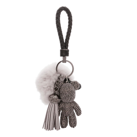 TEDDY BEAR Luxe Rhinestone Key Ring in Gunmetal Grey