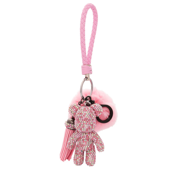 TEDDY BEAR Luxe Rhinestone Key Ring in Pink