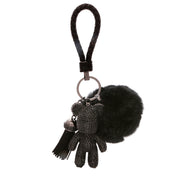 TEDDY BEAR Luxe Rhinestone Key Ring in Black - House of Pascal