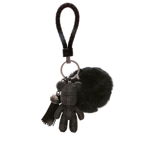TEDDY BEAR Luxe Rhinestone Key Ring in Black