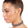 JUSTICE Gemstone Crystal Rhinestone Choker in Black