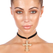 Emeli Statement Baroque Cross Choker - House of Pascal