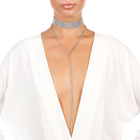 Crystal Luxe Rhinestone Drop Choker - House of Pascal