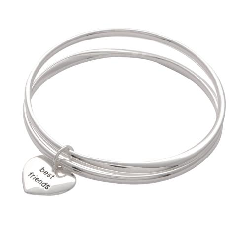 BEST FRIENDS Silver Plated Heart Charm Bangle