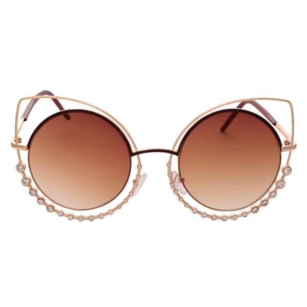 CRYSTAL CAT EYE Oversized Embellished Stunna Sunglasses