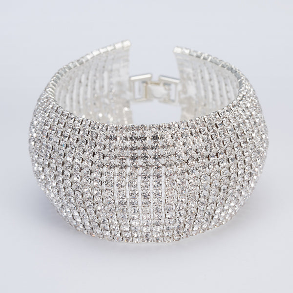 CRYSTAL LUXE SPARKLE Wide Bracelet in Silver