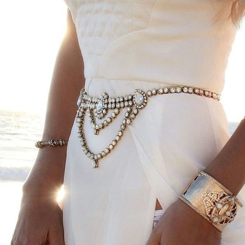 Madison Rhinestone Statement Boho Belt in Gold
