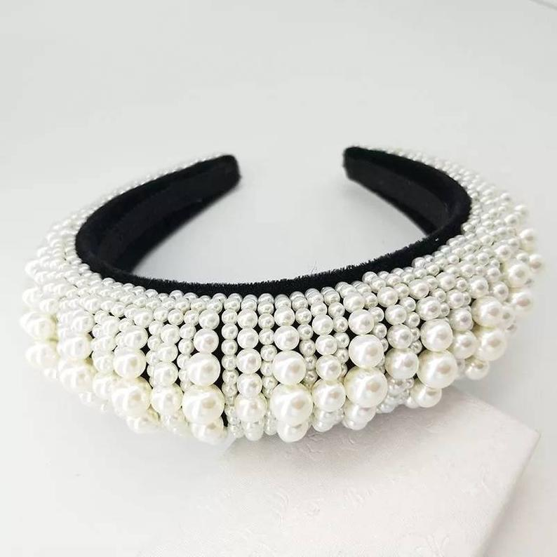 Girl with a Pearl Embellished Headband - House of Pascal
