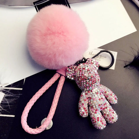 Teddy Bear Luxe Rhinestone Key Ring in Pink - House of Pascal
