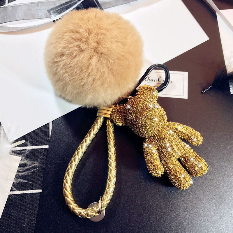 TEDDY BEAR Luxe Rhinestone Key Ring in Gold - House of Pascal