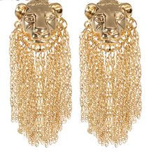 HEART OF A LION Tassel Earrings in Gold
