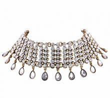 MIMI Statement Tear Drop Rhinestone Choker in Gold
