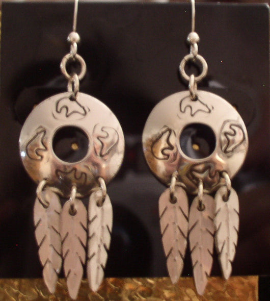 Earrings-Sterling Silver Hand Stamped Disc w/Hand Cut Feathers