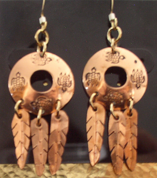 Earrings- Copper Disc Earrings w/ Hand Cut Feathers