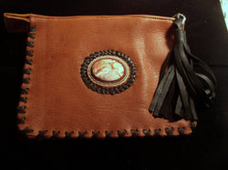 Bag- Clutch Bag- Elk Leather with Cabochon