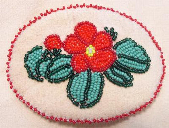 Barrette Beaded Floral Barrette on Smoke Tanned Deer Skin