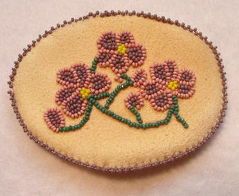 Barrette-Beaded Floral Barrette on Smoke Tanned Deer Skin