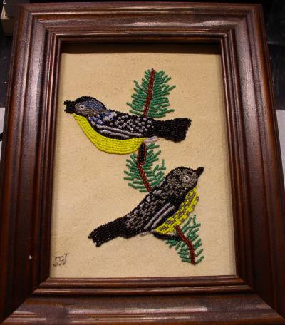 Picture -Beaded Picture- Warblers On Deer Skin