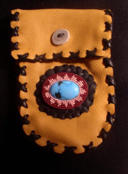 Bag-Saddle Deerskin Pouch with Braiding & Turquoise Cabochon
