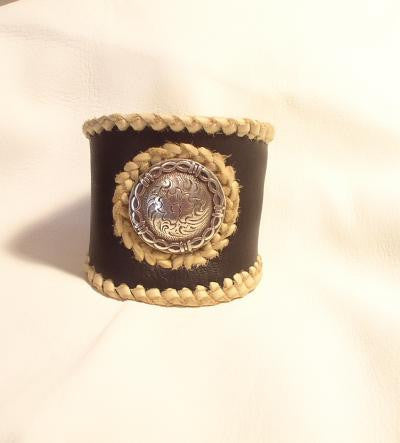 Bracelet- Unisex Leather Cuff- Black Deer Skin with Concho
