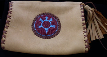 Bag-Clutch Bag Elk Skin  with Beaded Turtle