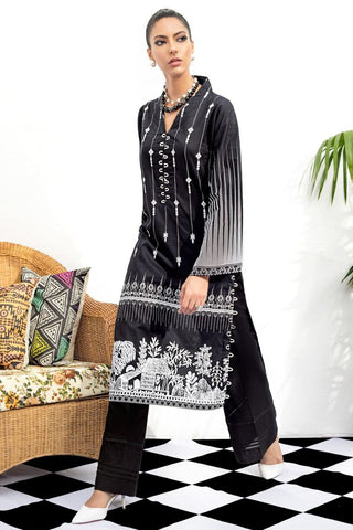 Gul Ahmed SnT Black and White Dress