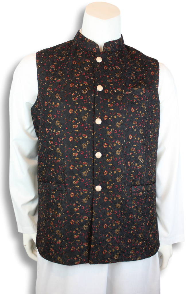 Embroidered Jamawar Waist-Coat - MWC1020 - String & Thread