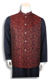 Embroidered Jamawar Waist-Coat - MWC1024 - String & Thread