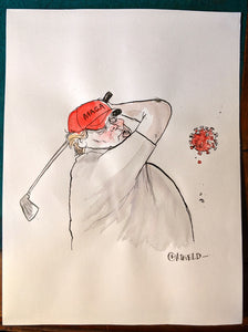 Trump playing golf as COVID-19 deaths hit 100,000 mark, May 2020 (Ink & Watercolor original art)