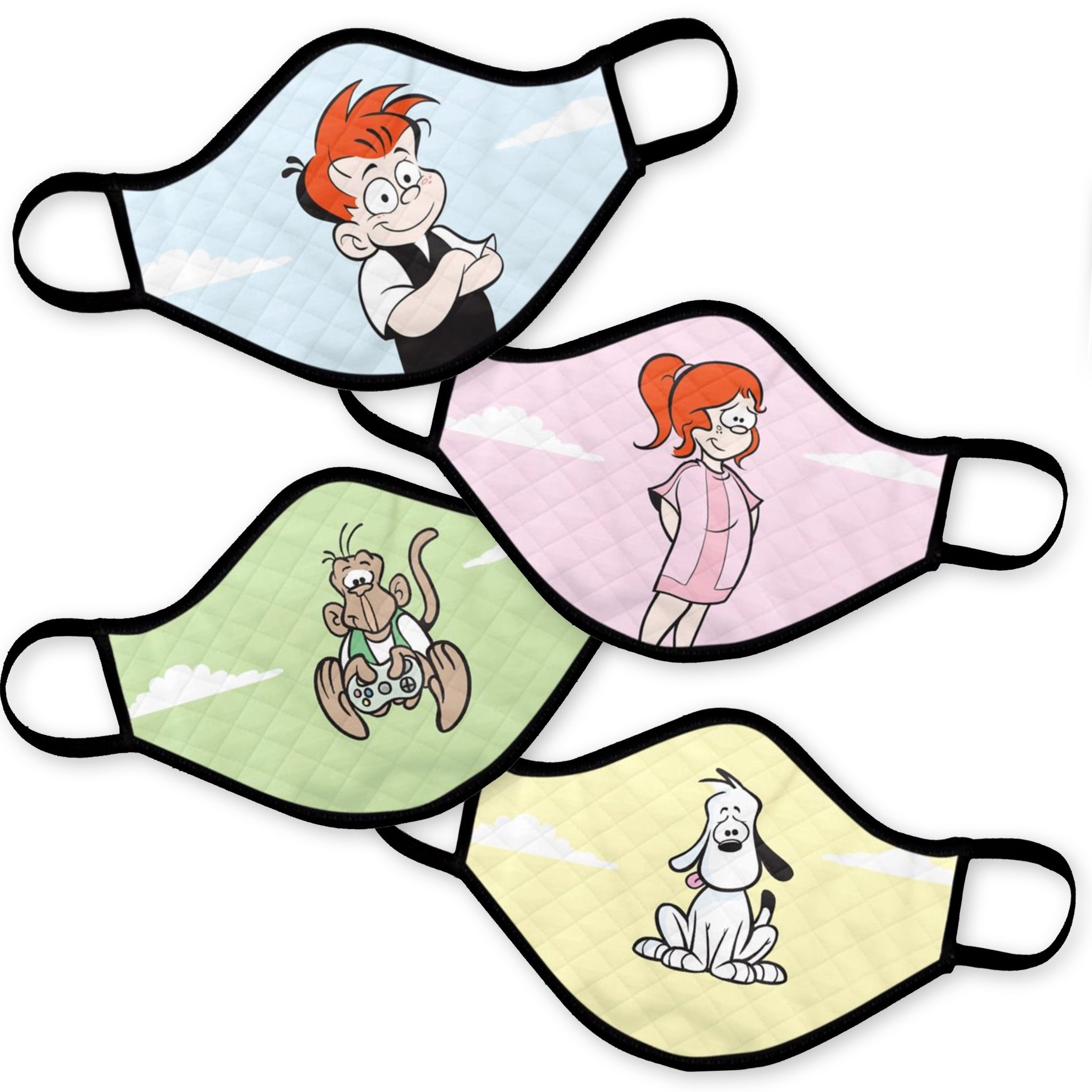 New! Ginger Meggs Masks: (4-pack) Ginger, Minnie, Tony & Mike!