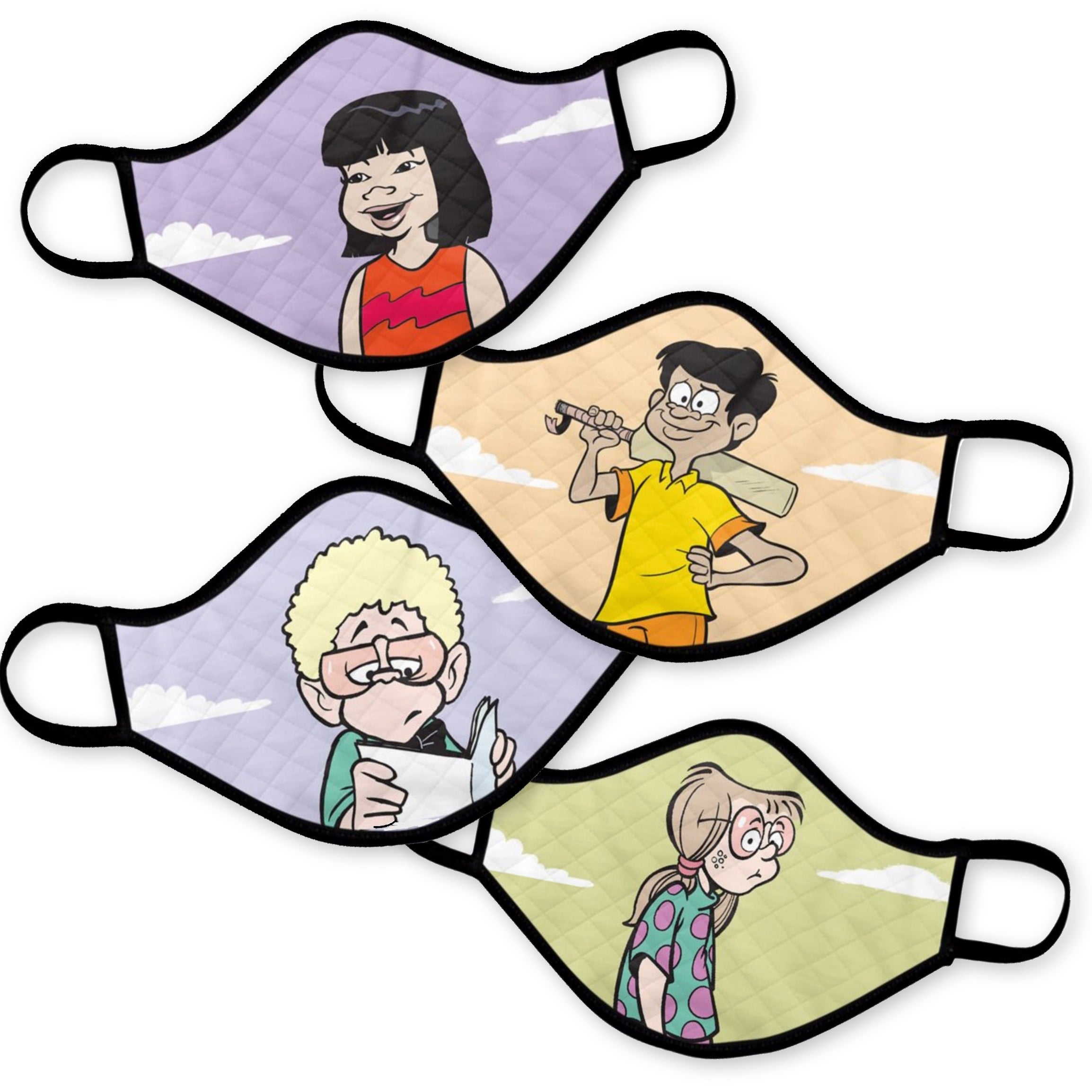 New! Ginger Meggs Masks: (4-pack) Rahul, Penny, Fitzzy & Aggie