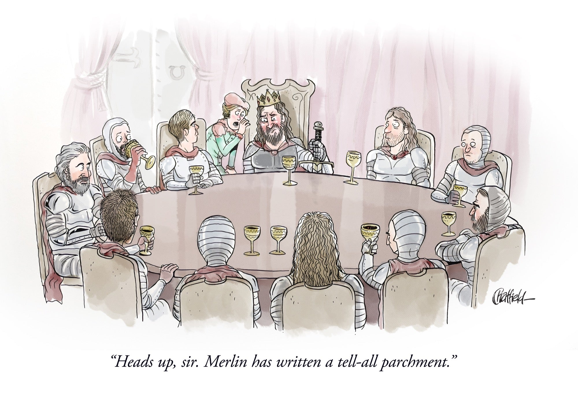 Sir, Merlin Has Written a Tell-All Parchment [Published: MAD Magazine, 2018] (Original Art)