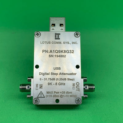 1 Channel 32 dB Programmable Attenuator (USB Stick), 0.25 dB Step, 9K - 8 GHz