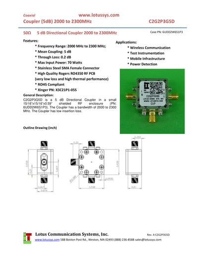 Directional Coupler 2000 MHz to 2300 MHz 5dB 70W Low Insertion Loss