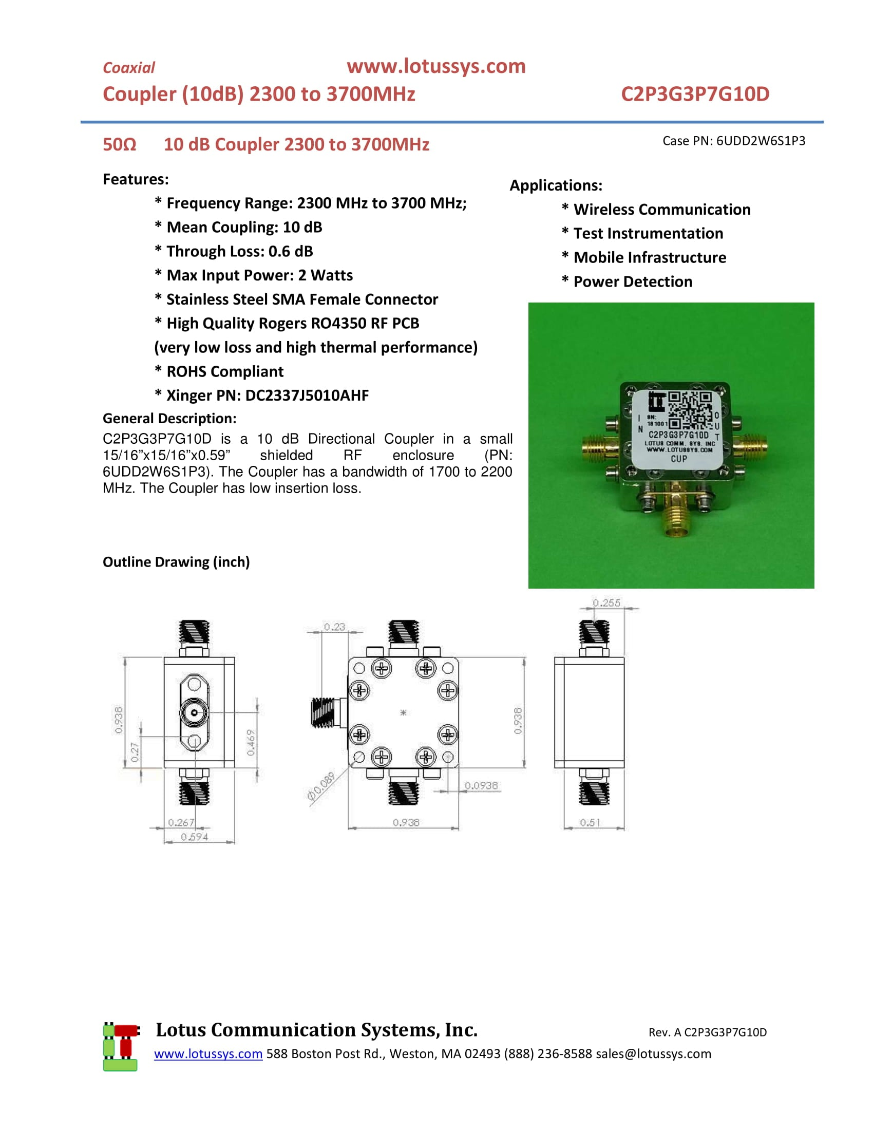 Directional Coupler 2 3 GHz to 3 7 GHz 10dB 2W Low Insertion Loss