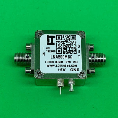 Amplifier LNA 1.3dB NF 0.5GHz to 8GHz 21dB Gain 20dBm P1dB SMA