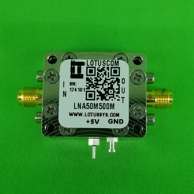 Amplifier LNA 1.0dB NF 50MHz to 500MHz 23dB Gain 20dBm P1dB SMA LNA50M500M