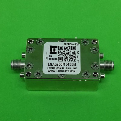 Amplifier LNA 0.85dB NF 5250M~5455 MHz 39dB Gain 19dBm P1dB SMA - 2 Stage High Gain