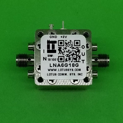 Amplifier LNA 1.5dB NF 6GHz to 18GHz 22dB Gain 11dBm P1dB SMA