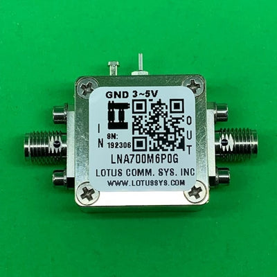 Amplifier LNA 0.4dB NF 0.7GHz to 6GHz 20dB Gain 20dBm P1dB SMA