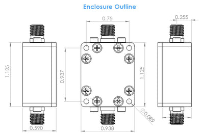 "RF Enclosure Kit for 0.062""/1.6mm PCB with 0.75""X0.5625"" Board (Passive)"