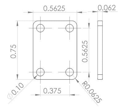 "6UED6W6S1A1 Enclosure Kit for 0.062""/1.6mm PCB (size 0.75""x0.5625"") 1 SMA Active 0.58"" Height"