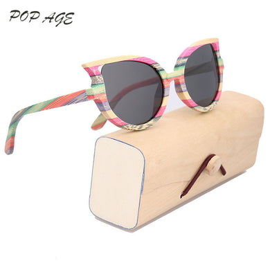4a19c7d804 2017 Latest Fashionable Women s Bamboo Sunglasses Polarized Cat Eye Heart Sunglasses  Female Luxury Designer Sun Glasses