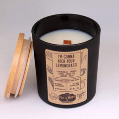 """Get A Whiff's """"I'm Gonna Kick Your Lemongrass"""" glass candle"""