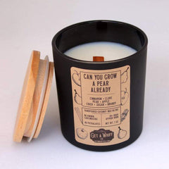 """Get A Whiff's """"Can You Grow A Pear Already"""" glass candle"""