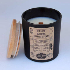 """Get A Whiff's """"I'm Busy Ignoring Currant Events"""" glass candle"""