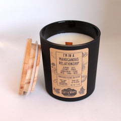 """Get A Whiff Co.'s """"I'm In A Mahoganous Relationship"""" glass candle."""