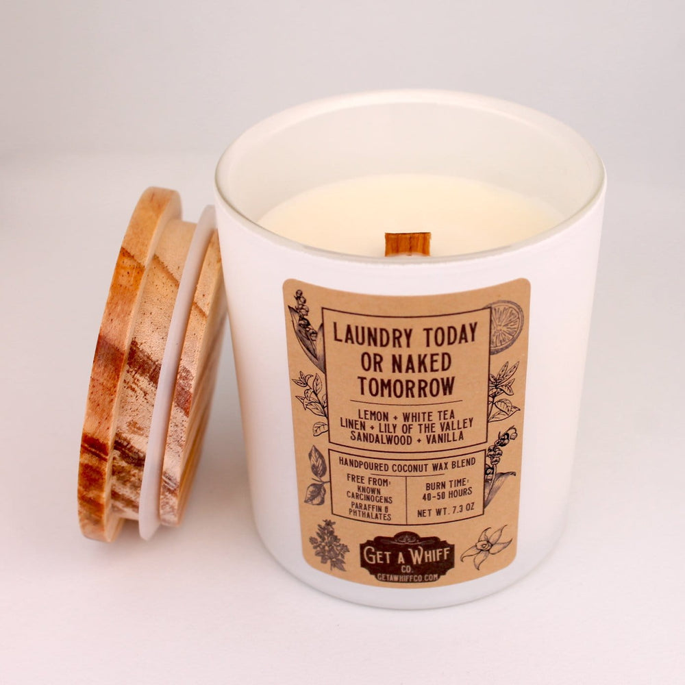 Fresh Linen Wood Wick Candle | Clean Candle | Crackling Candle | Coconut Wax Candle | Jar Candle | Laundry Today Or Naked Tomorrow
